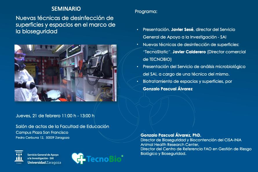 Seminario sobre bioseguridad y desinfección en superficies de la Universidad de Zaragoza