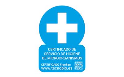 Certificado FreeBac. Certificado de servicio de higiene de microorganismos